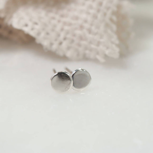 dot stud earrings plain 3mm silver, gold, pik gold
