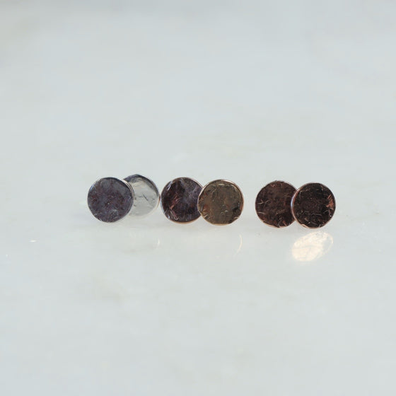 6mm dot hammered post earrings