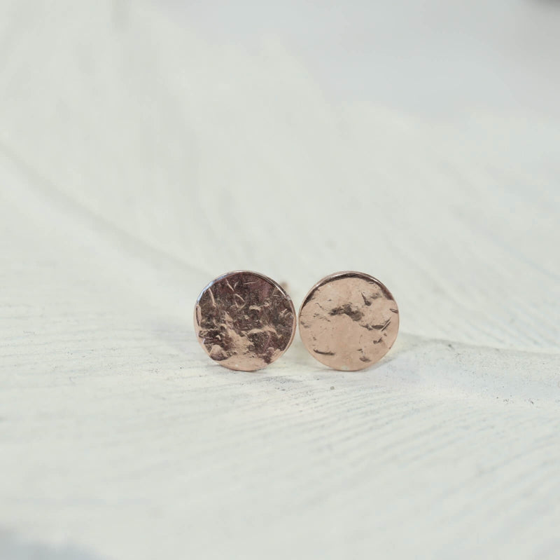 pink gold hammered dot stud earrings