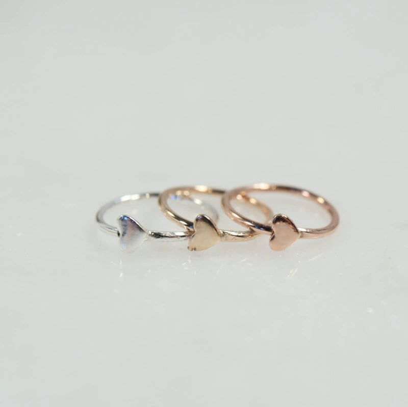 heart cartilage earring silver, gold, pink gold