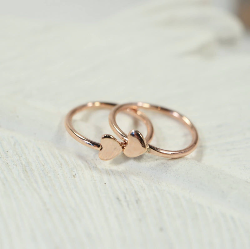 tiny heart hoop earrings pink gold