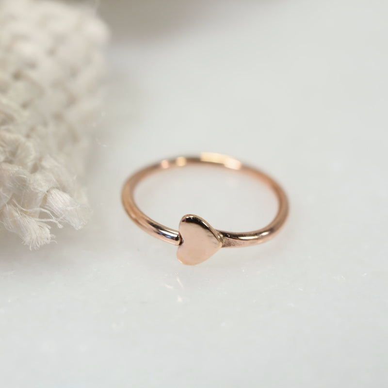 tiny heart tragus earring pink gold