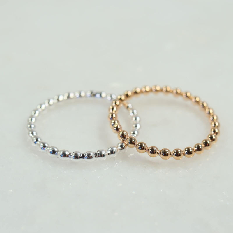 bead stacking ring silver, gold