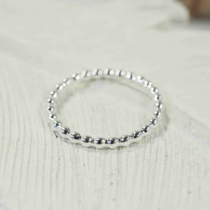bead stacking ring silver