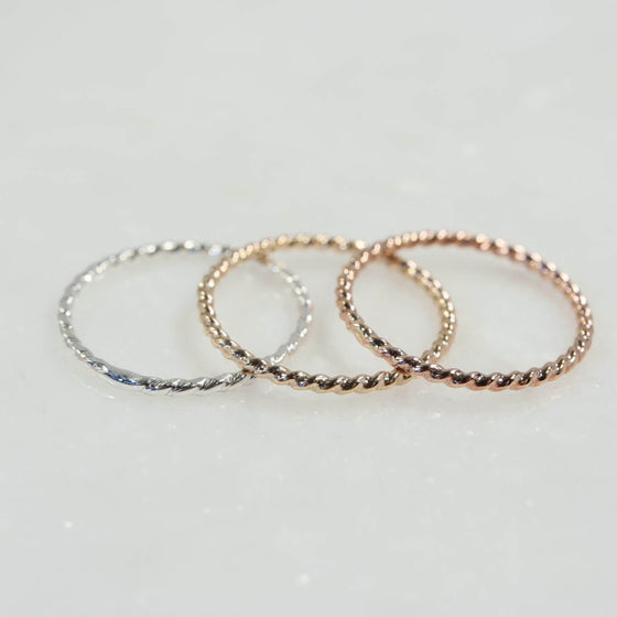 dot twist stacking rings silver, gold, pink gold