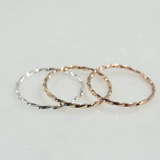 stacking rings twist silver, gold, pink gold