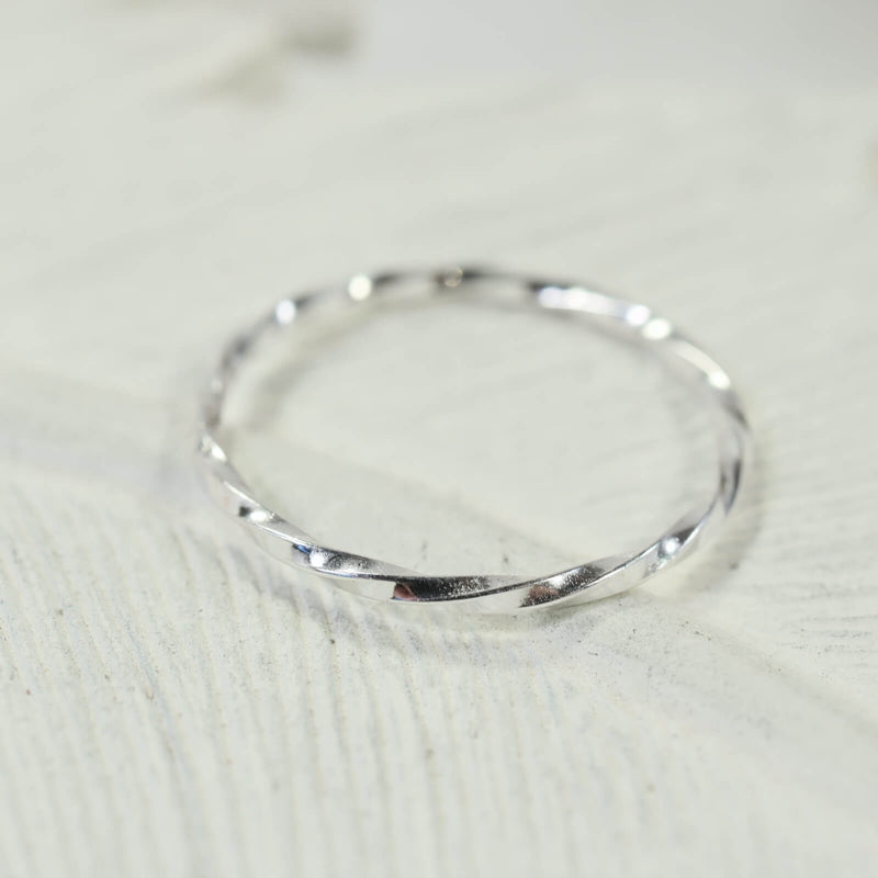 stacking rings twist silver