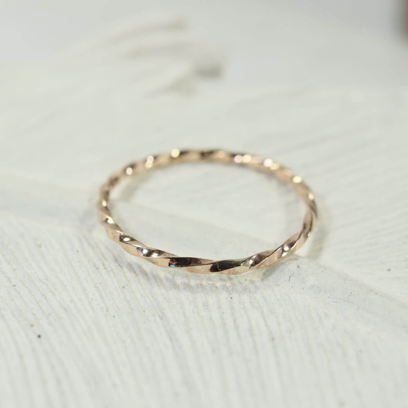 stacking rings twist gold