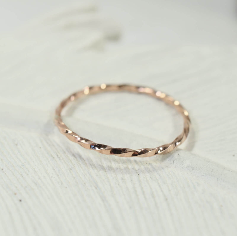 stacking rings twist pink gold