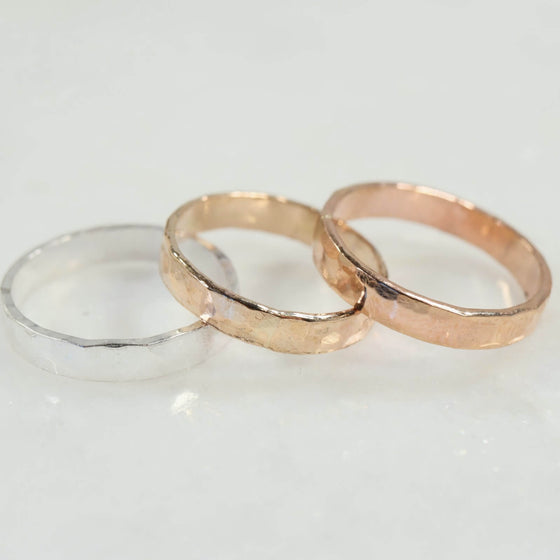 hammered 4mm wide bands silver, gold, pink gold