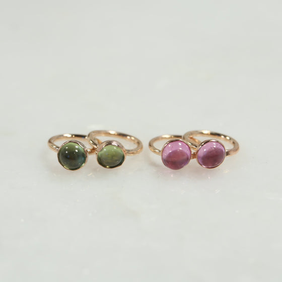 tiny hoop earrings gold peridot pink sapphire
