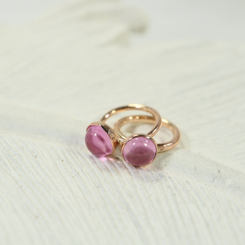 tiny hoop earrings pink sapphire 4mm gold