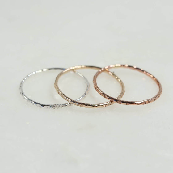 cross cut stacking rings silver, gold, pink gold