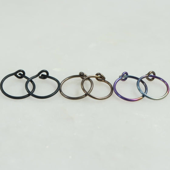 niobium plain hoops black, bronze, rainbow