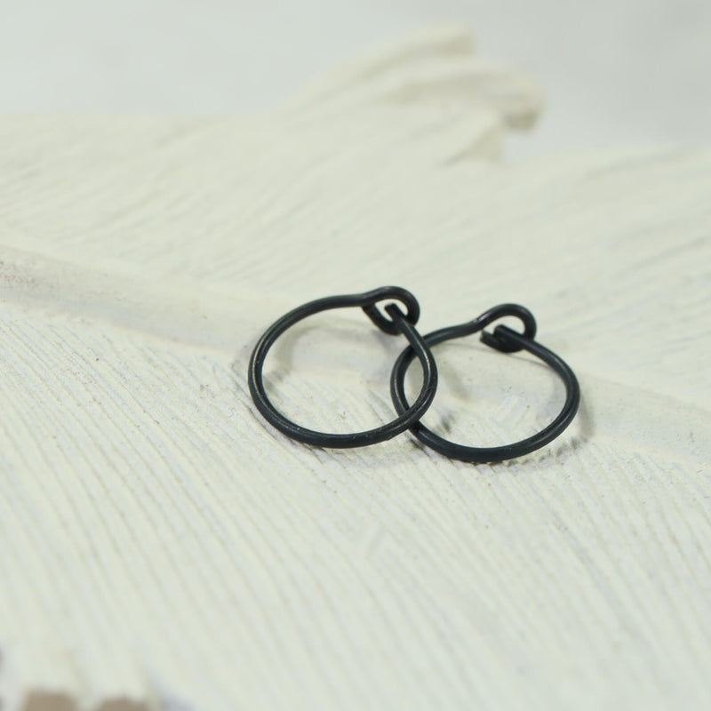 niobium black tiny hoop earrings