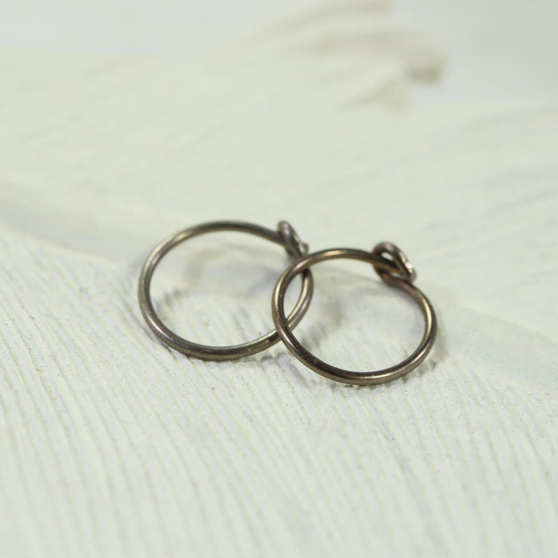 niobium bronze tiny hoop earrings