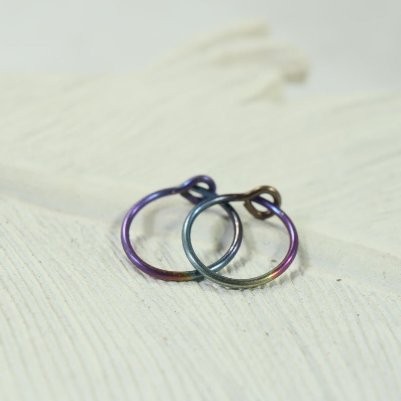 niobium plain tiny hoop earrings rainbow