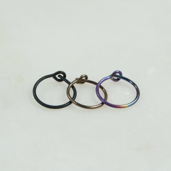 plain niobium single hoop earring black, bronze, rainbow