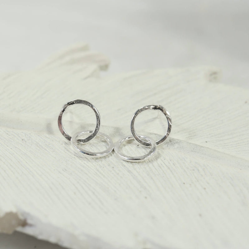 double hammered circle post earrings silver