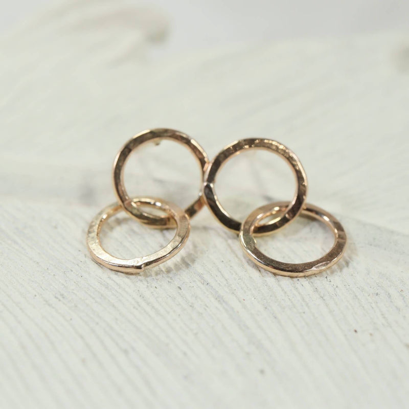 double hammered circles post earrings gold