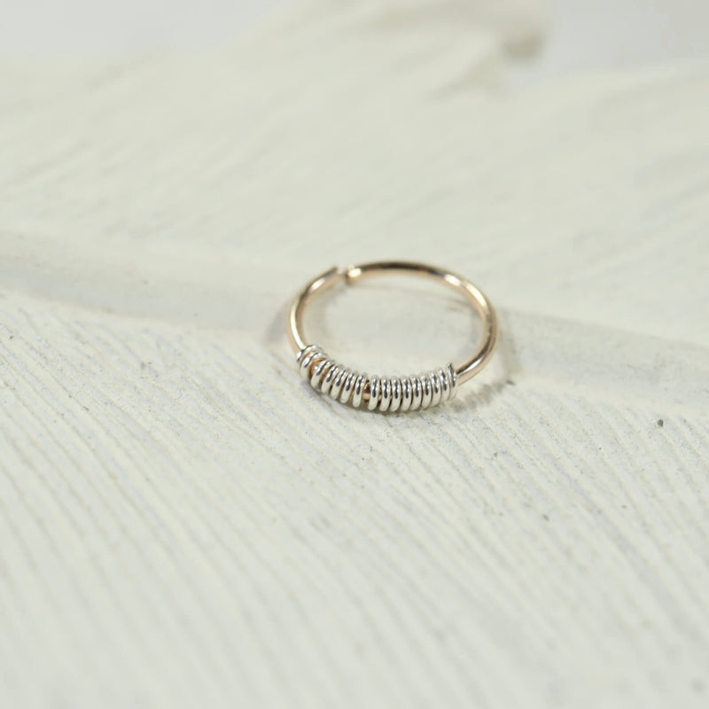 silver wrapped gold nose ring