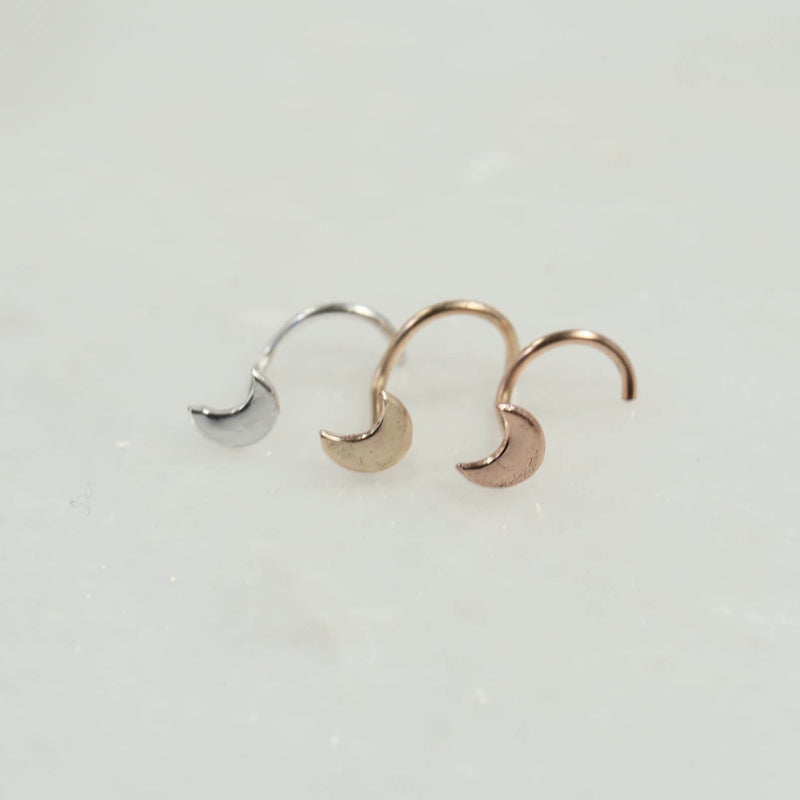 crescent moon nose stud 4mm silver, gold, pink gold,