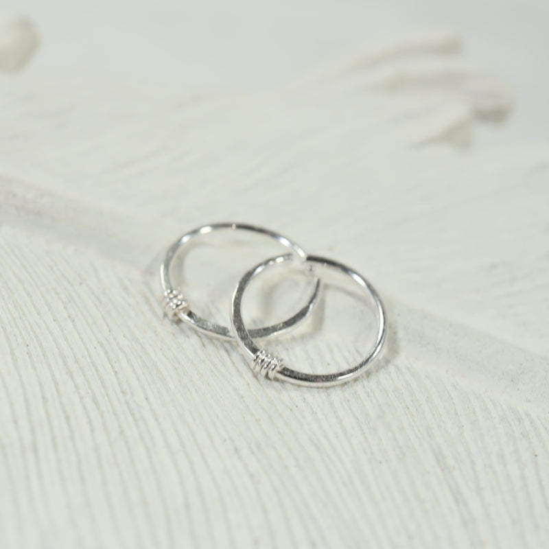 tiny hoop earrings hammered & wrapped silver
