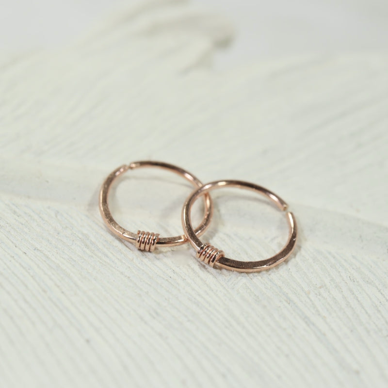 tiny hoop earrings hammered & wrapped pink gold