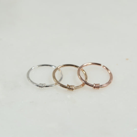 cartilage earring endless silver, gold, pink gold hammered & wrapped