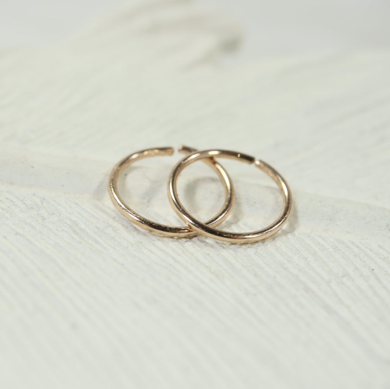 tiny hoop earrings face hammered gold