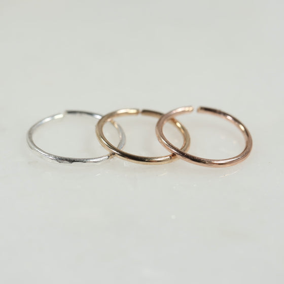 face hammered cartilage silver, gold, pink gold