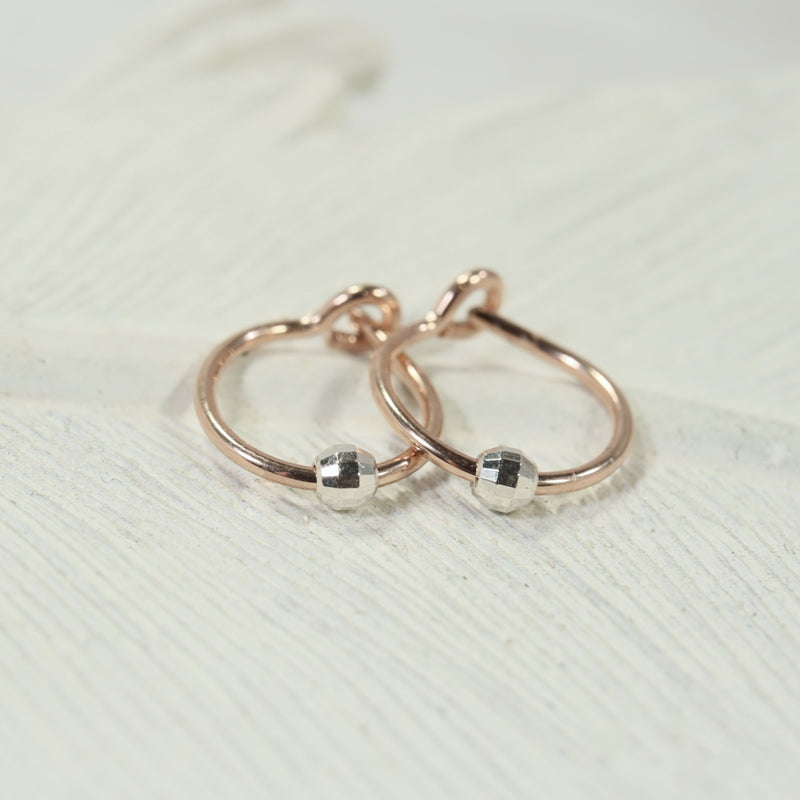 tiny hoop earrings mirror bead pink/rose gold