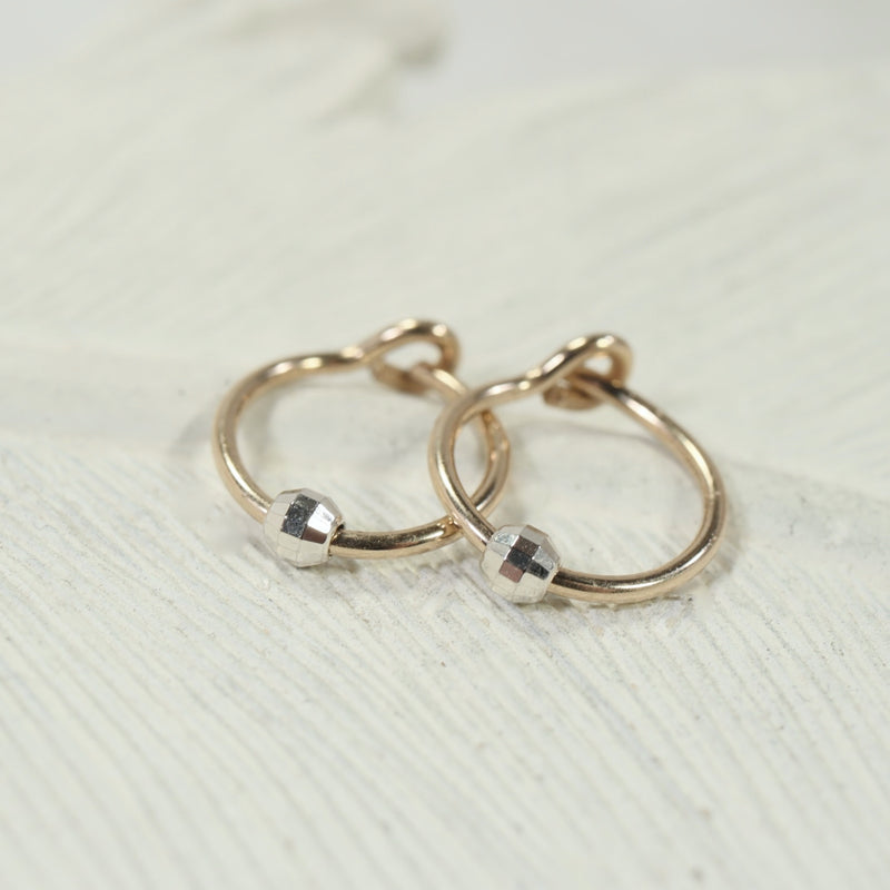 tiny hoop earrings mirror bead gold