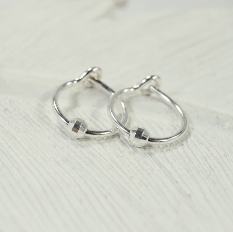 tiny hoop earrings mirror bead silver