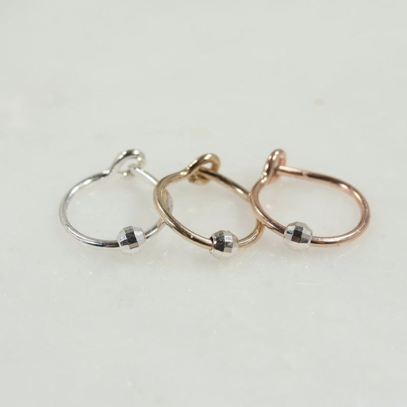 cartilage beaded tiny hoop silver, gold, pink gold