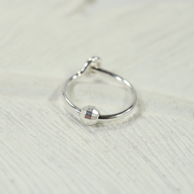 cartilage beaded tiny hoop silver