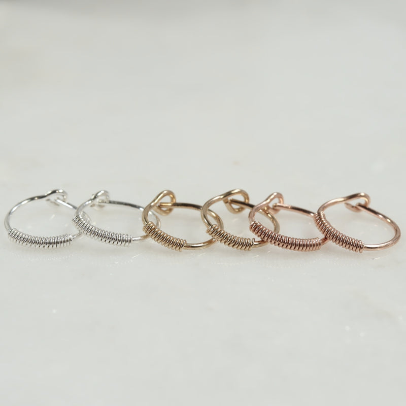 wrapped tiny hoop earrings silver, gold, pink gold