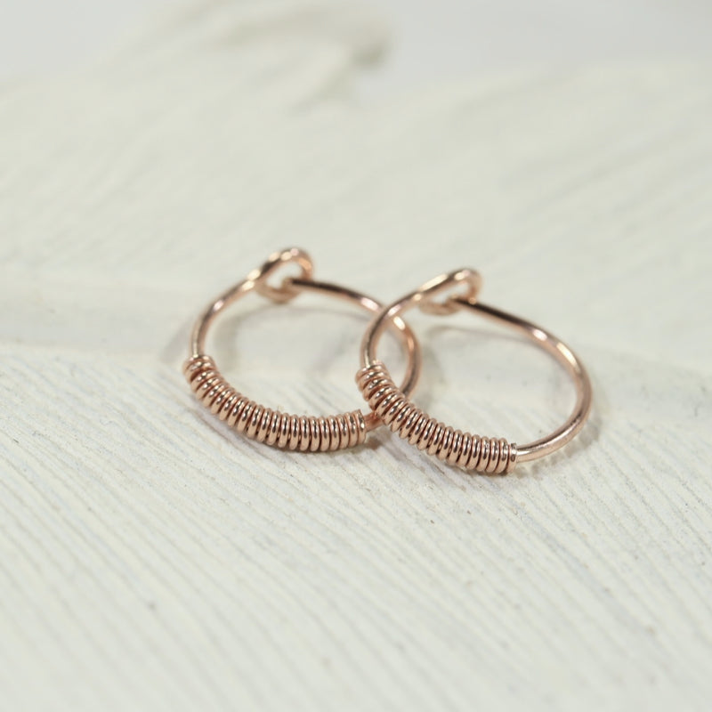 wrapped tiny hoop earrings pink gold