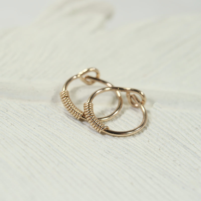 wrapped tiny hoop earrings gold
