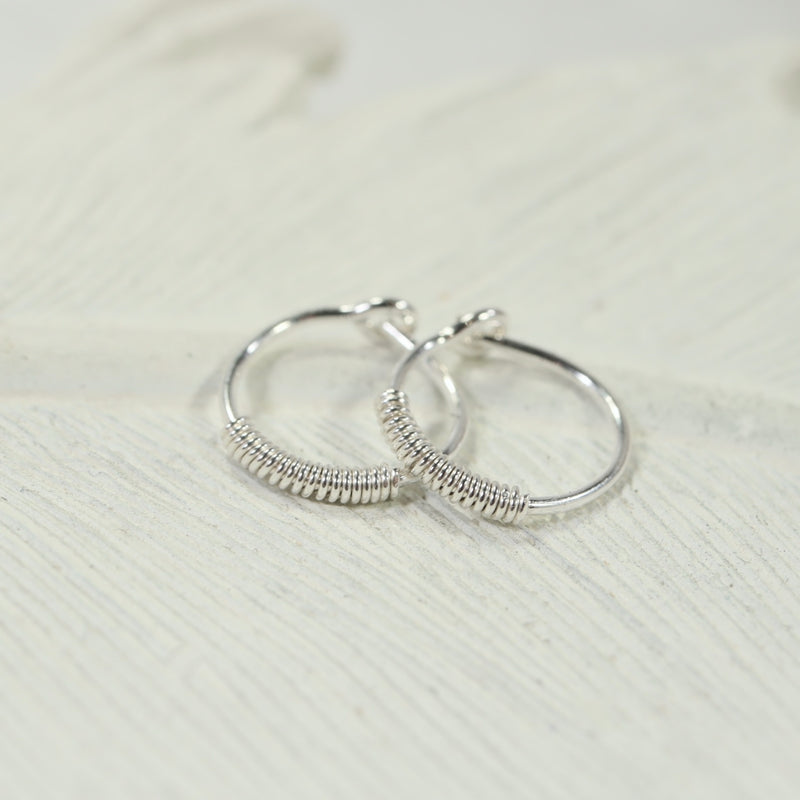 wrapped tiny hoop earrings silver