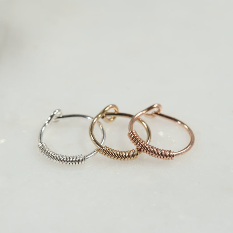 tiny hoop earring cartilage wrapped silver, gold, pink gold