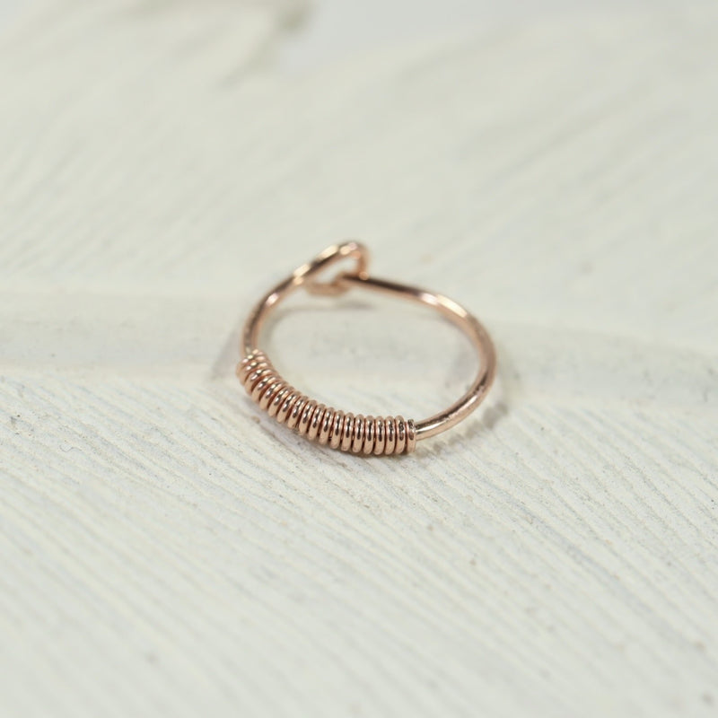 wrapped cartilage hoop earrings pink gold