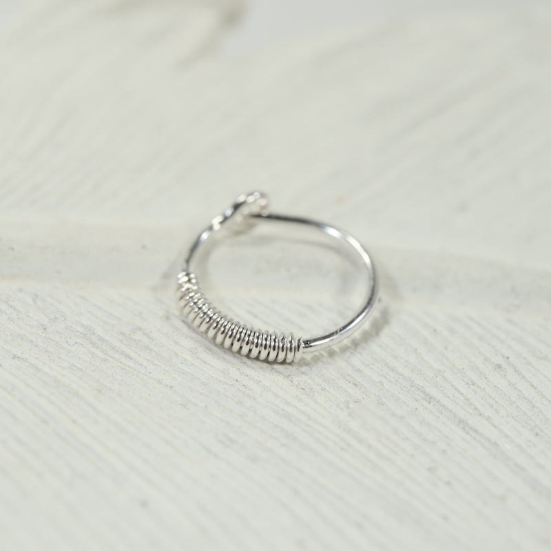 wrapped cartilage hoop silver
