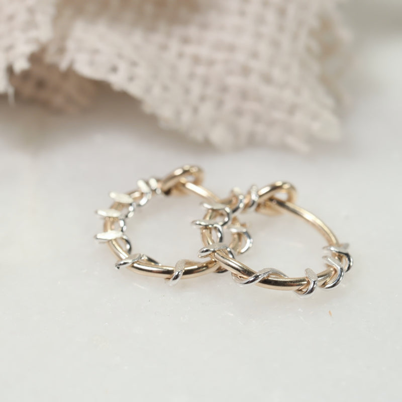 gold squiggles with silver accent tiny hoops