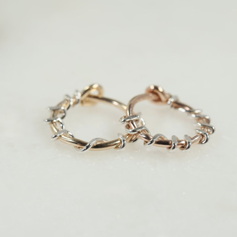 squiggles tiny hoops gold and pink gold with silver accent