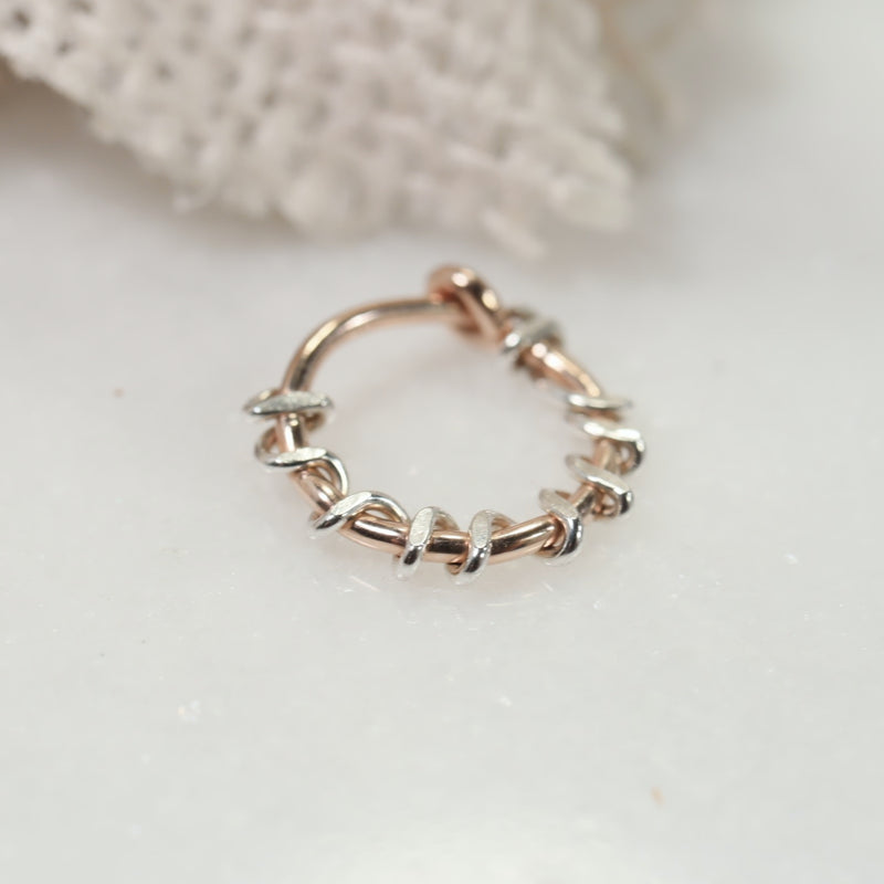 squiggles tiny hoops pink gold with silver accent
