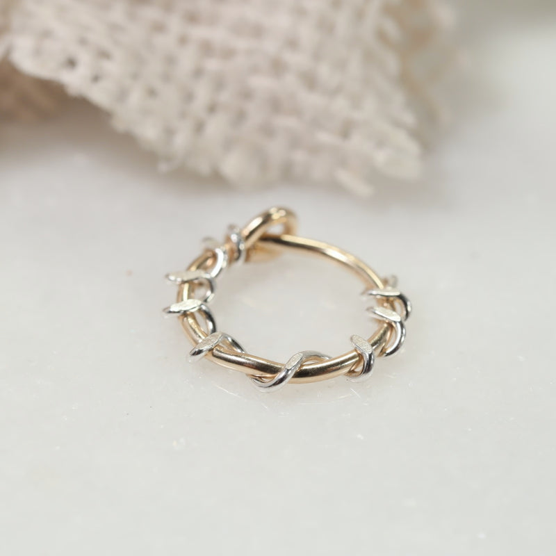 squiggles tiny hoops gold with silver accent