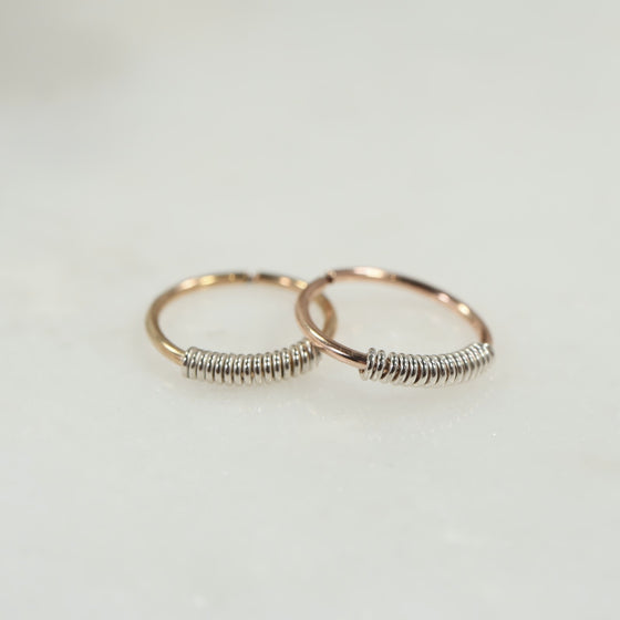 endless tiny hoops gold and pink gold with silver wrap