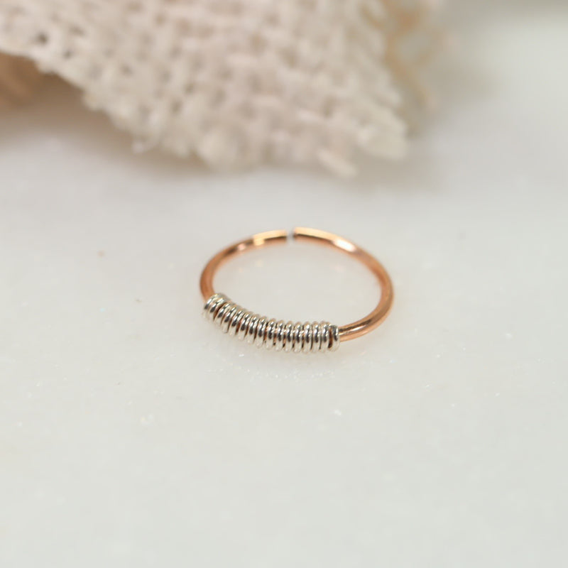 endless tiny hoops pink gold with silver wrap