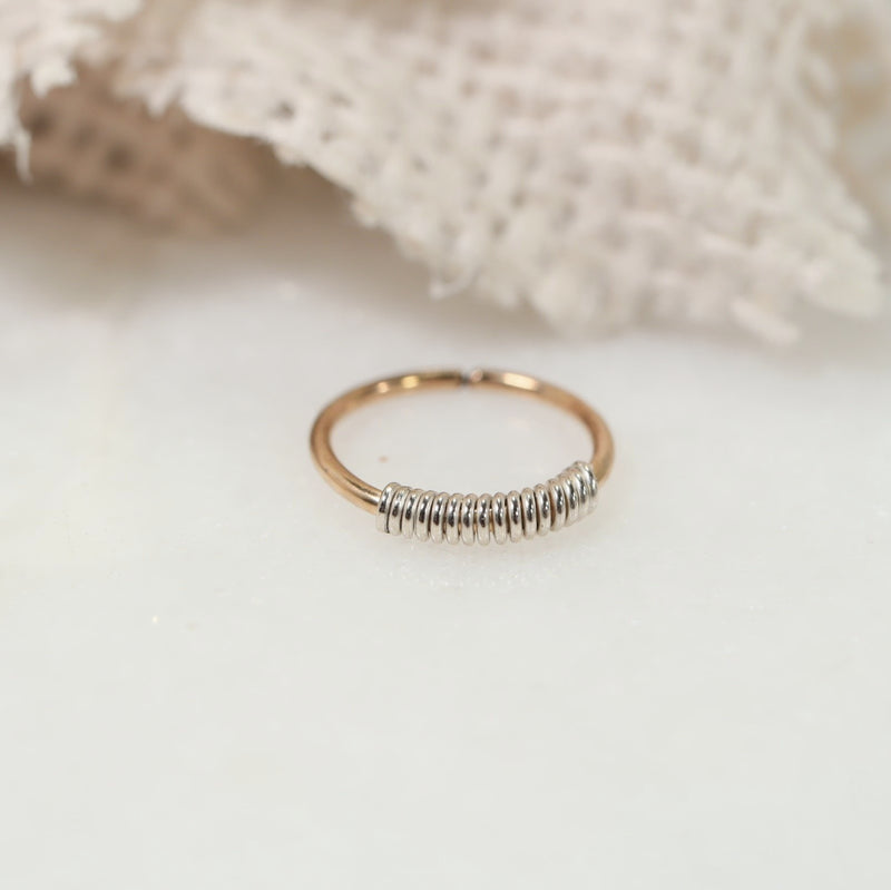 endless tiny hoops gold with silver wrap